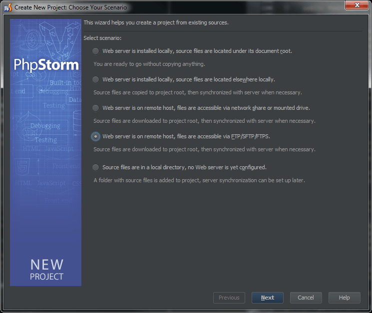 PHPStorm - Create project